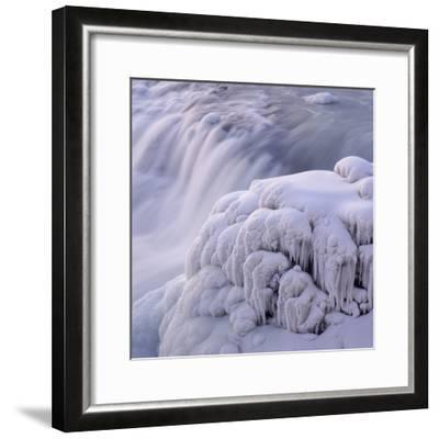 Frozen Gullfoss Waterfall--Framed Photographic Print
