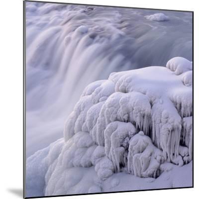 Frozen Gullfoss Waterfall--Mounted Photographic Print