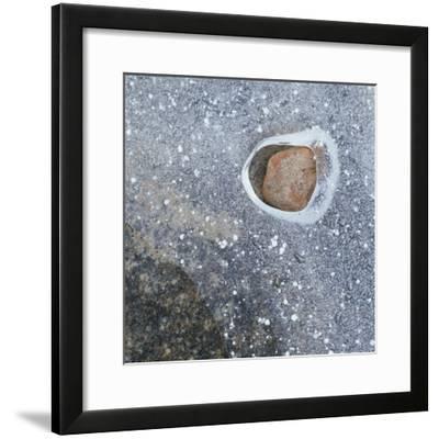 Rock in a Frozen River-Micha Pawlitzki-Framed Photographic Print