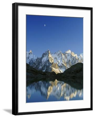 Aiguilles de Chamonix and and Mont Blanc reflected in Lac Blanc at sunset-Frank Lukasseck-Framed Photographic Print