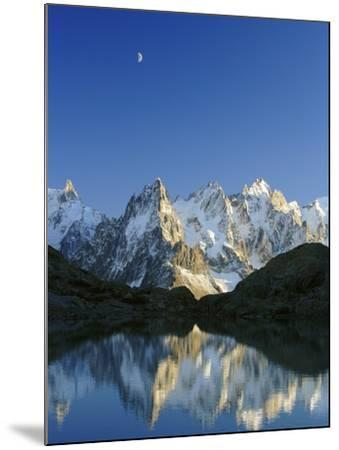 Aiguilles de Chamonix and and Mont Blanc reflected in Lac Blanc at sunset-Frank Lukasseck-Mounted Photographic Print
