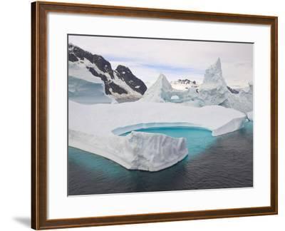 Stranded Icebergs in Shallow Bay Near Boothe Island-John Eastcott & Yva Momatiuk-Framed Photographic Print