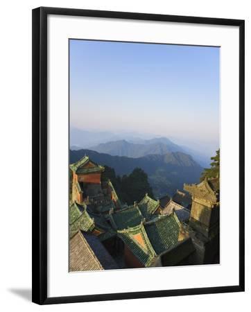 Taoist Temple in Mountain Landscape-Keren Su-Framed Photographic Print
