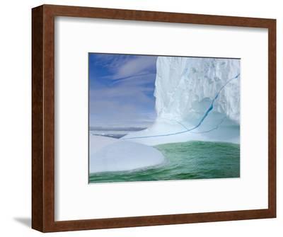 Iceberg with Long Cracks Floating Near Cape Evensen-John Eastcott & Yva Momatiuk-Framed Photographic Print
