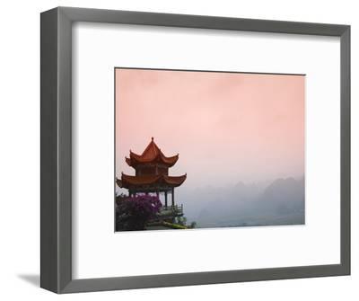 Temple Pavilion with Karst Hills in Mist-Keren Su-Framed Photographic Print