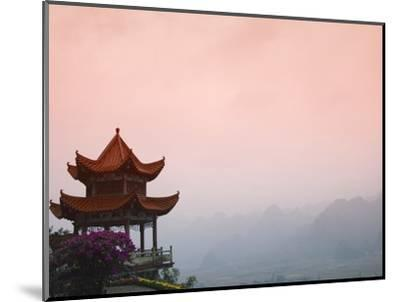 Temple Pavilion with Karst Hills in Mist-Keren Su-Mounted Photographic Print