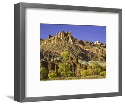 Castle and Fluted Wall Formations in Capitol Reef National Park-John Eastcott & Yva Momatiuk-Framed Photographic Print