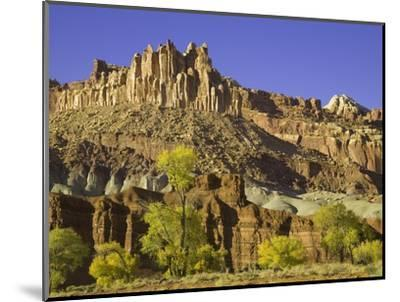 Castle and Fluted Wall Formations in Capitol Reef National Park-John Eastcott & Yva Momatiuk-Mounted Photographic Print