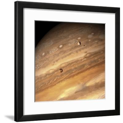 Io and Europa over Jupiter-Michael Benson-Framed Photographic Print