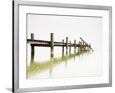Pier on Foggy Lake-Frank Lukasseck-Framed Photographic Print