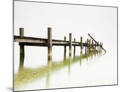 Pier on Foggy Lake-Frank Lukasseck-Mounted Photographic Print