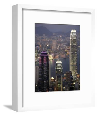 Hong Kong skyline and Victoria Harbor at night-Tibor Bogn?r-Framed Photographic Print