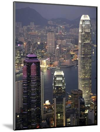 Hong Kong skyline and Victoria Harbor at night-Tibor Bogn?r-Mounted Photographic Print
