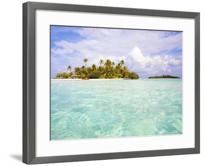 Sea kayaks on the beach of a coconut palm tree island-Frank Lukasseck-Framed Photographic Print