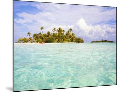 Sea kayaks on the beach of a coconut palm tree island-Frank Lukasseck-Mounted Photographic Print