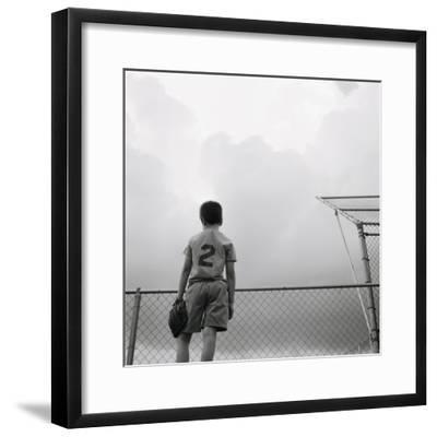 Boy in baseball uniform-Steve Cicero-Framed Photographic Print