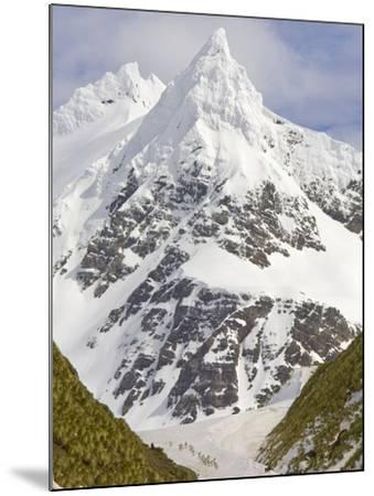 Snowy Peak Towering over King Penguins and Fur Seals-John Eastcott & Yva Momatiuk-Mounted Photographic Print