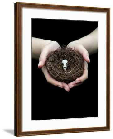 Birds Nest in Cupped Hands-Elisa Lazo De Valdez-Framed Photographic Print