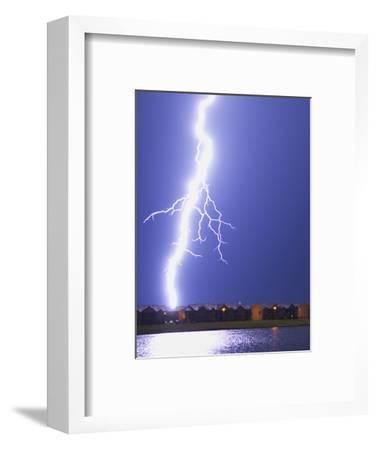 Lightning Striking an Apartment Complex-Jim Reed-Framed Photographic Print