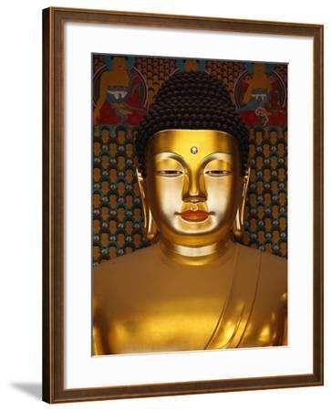 Detail of Sakyamuni Buddha Statue in Main Hall of Jogyesa Temple-Pascal Deloche-Framed Photographic Print