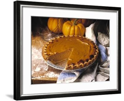 Pumpkin Pie with Slice Removed-Envision-Framed Photographic Print