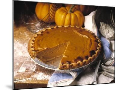 Pumpkin Pie with Slice Removed-Envision-Mounted Photographic Print