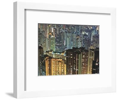 Apartment buildings in Hong Kong at night-Rudy Sulgan-Framed Photographic Print
