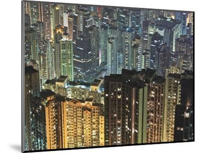 Apartment buildings in Hong Kong at night-Rudy Sulgan-Mounted Photographic Print