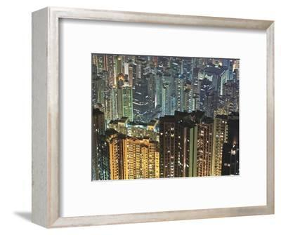Apartment buildings in Hong Kong at night-Rudy Sulgan-Framed Photographic Print