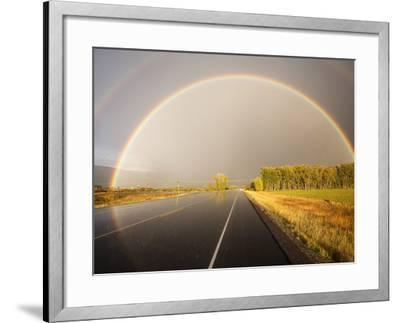 Double rainbow on country road in autumn-Frank Lukasseck-Framed Photographic Print