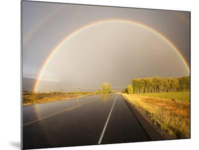 Double rainbow on country road in autumn-Frank Lukasseck-Mounted Photographic Print