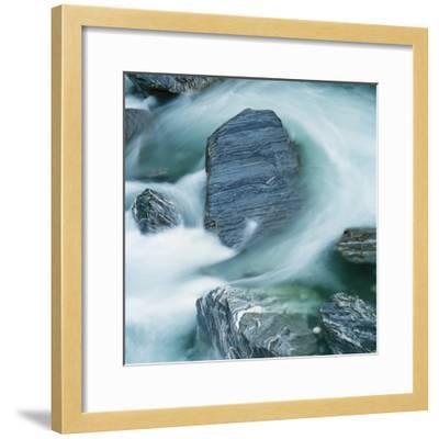 Rushing water and rocks on South Island, New Zealand-Micha Pawlitzki-Framed Photographic Print