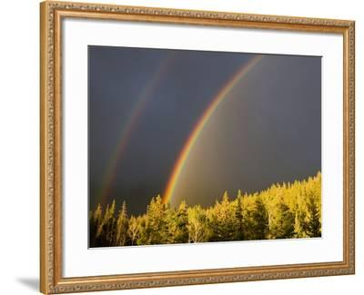 A Double Rainbow During a Storm in Banff National Parknear Banff Alberta, Canada.-Josh McCulloch-Framed Photographic Print