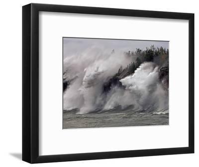 Fierce Lake Superior waves pound Minnesota's north shore-Layne Kennedy-Framed Photographic Print