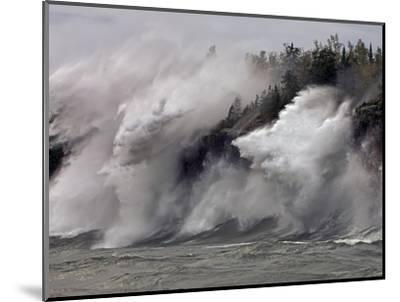 Fierce Lake Superior waves pound Minnesota's north shore-Layne Kennedy-Mounted Photographic Print
