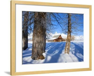 Barn below Teton Range in winter-Frank Lukasseck-Framed Photographic Print