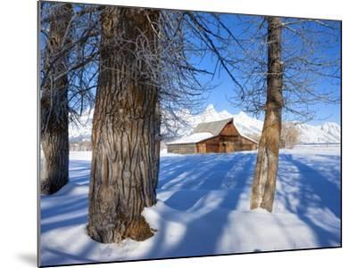 Barn below Teton Range in winter-Frank Lukasseck-Mounted Photographic Print