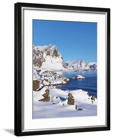 Coastal mountains in the Lofoten Islands in new snow-Frank Krahmer-Framed Photographic Print