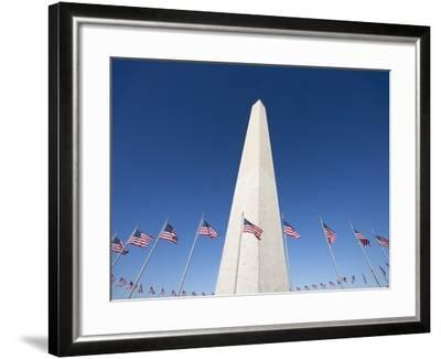 Washington Monument surrounded by American flags-Jos? Fuste Raga-Framed Photographic Print