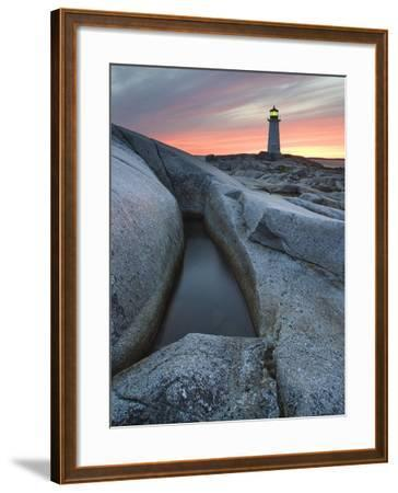 Peggy's Cove Lighthouse at Dusk, Peggy's Cove, Nova Scotia, Canada-Darwin Wiggett-Framed Photographic Print