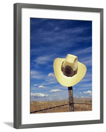 Cowboy Hat on Barbed Wire Fence, British Columbia, Canada-Gary Fiegehen-Framed Photographic Print