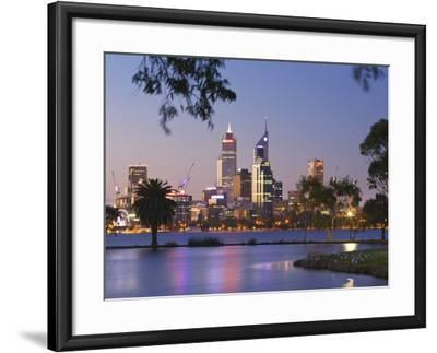 Swan River and James Mitchell Park at dusk-Jonathan Hicks-Framed Photographic Print