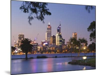 Swan River and James Mitchell Park at dusk-Jonathan Hicks-Mounted Photographic Print