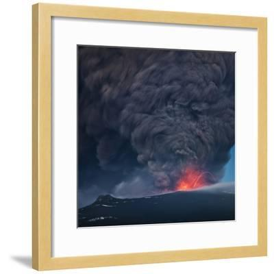 Ash plume from the Eyjafjallajokull eruption--Framed Photographic Print