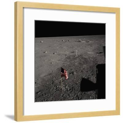 American Flag on the Moon--Framed Photographic Print