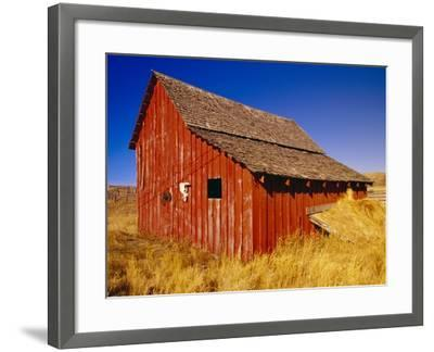 Weathered Old Barn on Ranch-Terry Eggers-Framed Photographic Print