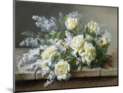A Still Life with Yellow Roses-Raoul De Longpre-Mounted Photographic Print