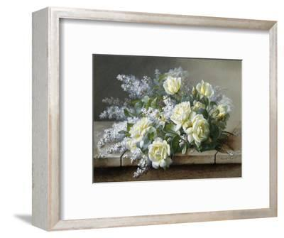 A Still Life with Yellow Roses-Raoul De Longpre-Framed Photographic Print
