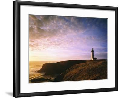 Sun Rising over Yaquina Head Lighthouse-Craig Tuttle-Framed Photographic Print