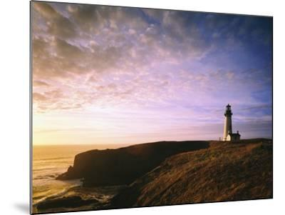 Sun Rising over Yaquina Head Lighthouse-Craig Tuttle-Mounted Photographic Print